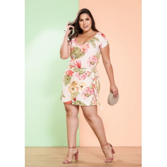 Vestido Plus Size Viscose Estampada